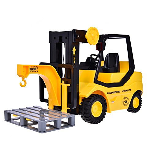 Kids Forklift Truck Toy Construction Toys Friction Powered 1:16 Simulation Truck with Light and Sound, 4 Wheels, a Hook, a Tray and 2 Prongs, Yellow and Black
