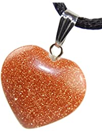 "Big Heart Collection - 20mm Classic Sunstone Brown Golden Sparkle, 20"" Adjustable Soft Black Poly Woven Washable Cord Stainless Bail - Smelt Crystal Gemstone Carved Necklace Charm"