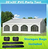 26'x20' PVC Party Tent - Heavy Duty Wedding Canopy Gazebo Carport - with Storage Bags - By DELTA Canopies