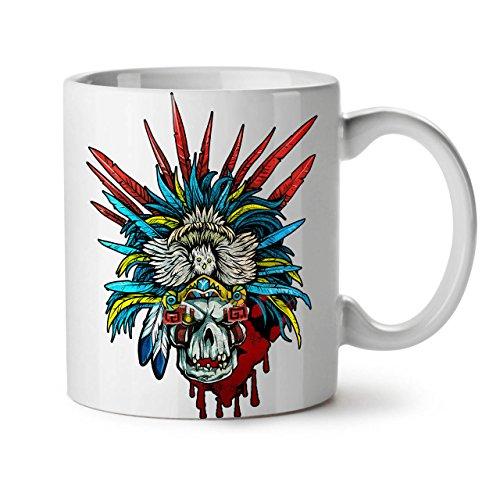 Skull Indian Warrior Costume White Tea Coffee Ceramic Mug 11 oz | Wellcoda (Warrior Indian Costume)