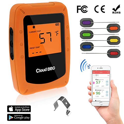 Bluetooth Meat Thermometer Wireless Digital BBQ Thermometer Instant Read Cooking Food Thermometer with 6 Probes Used for Smoker Kitchen Oven Grill Support iOS & ()