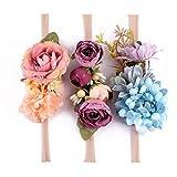 Tieback Flower Crown Elastic Flower Headband Baby Girl Floral Crown Wreath Newborn Hair Accessories (3 Colors Pack - D)