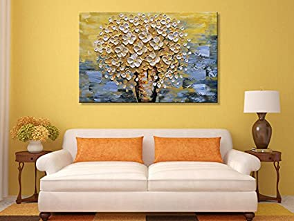 Amazon.com: Seekland Art Modern Canvas Wall Art Hand Painted Yellow ...