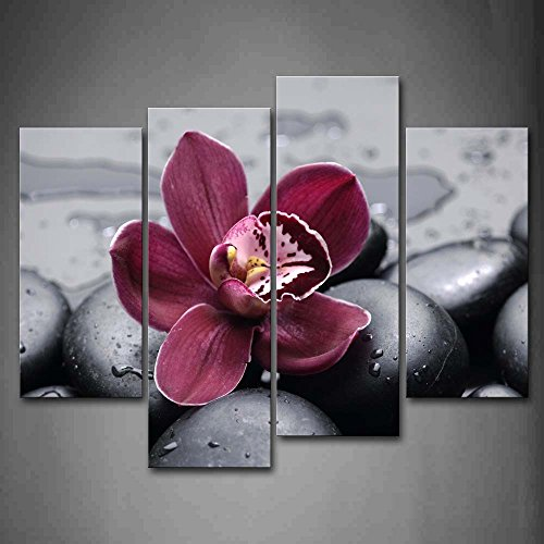 Dark Red Orchid On Cobblestones Wall Art Painting Pictures Print On Canvas Flower The Picture For Home Modern Decoration