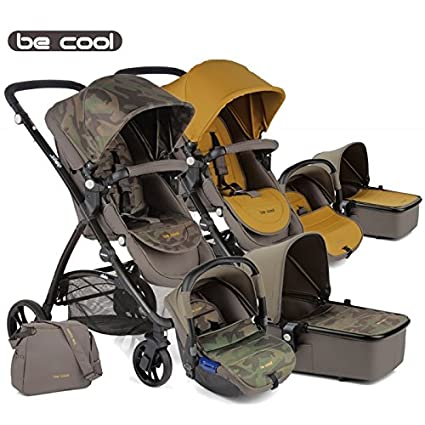Be Cool - Coche de paseo trío slide 3 top estampado camuflaje/mostaza