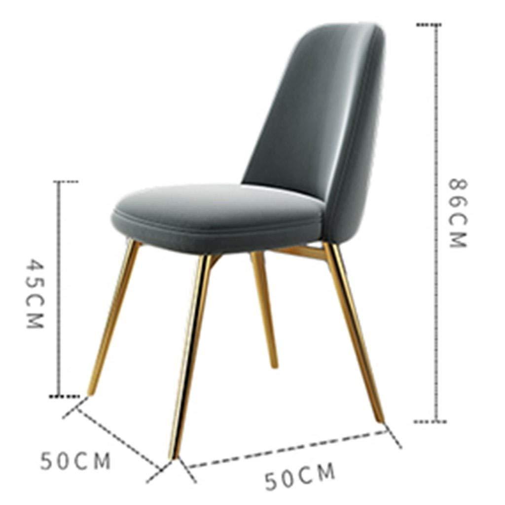 HEJINXL matrumsstol, guld totalt säte och rygg med metallben köksstolar för vardagsrum kan mer än 150 kg bära stolar set om 2 (färg: A) b