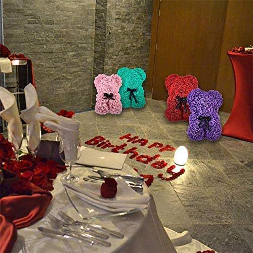 "Valentines Gift Rose Bear Best Gift for Valentines' Day, Anniversary, Birthdays & Bridal Showers Fully Assembled 10 inch Bear with Greeting Cards and Heart-shaped Balloon & Clear Gift Box (crimson 10"")"