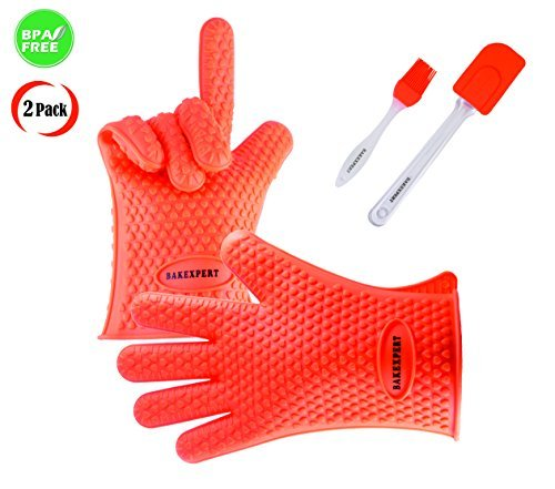 Silicone Gloves Heat Resistant Oven Mitt for Grilling, BBQ, Kitchen - Waterproof and Flexible - Safe Handling Hot Pots and Pans Cooking & Baking Non-Slip Potholders - Bonus Silicone Brush & Spatula