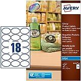 Avery J8102-10 Etichette per Prodotti Bianche, Effetto Glossy, Ovali, 63.5 x 42.3 mm, 10 ff, Bianco Lucido