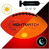 NIGHTMATCH Light Up Football INCL Ball Pump and Spare Batteries - Inside LED Lights up When Kicked - Glow in The Dark Football - Size 6 - Official Size & Weight Night-Light Ball Sports