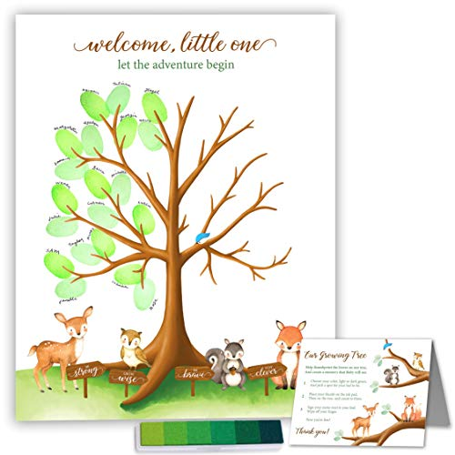 Paper Kit Co. Woodland Creature Baby Shower Fingerprint Tree with Ink Pad. Watercolor Woodland Art Print | 11 x 14 Includes Woodland Babies and Thumbprint Tree ()