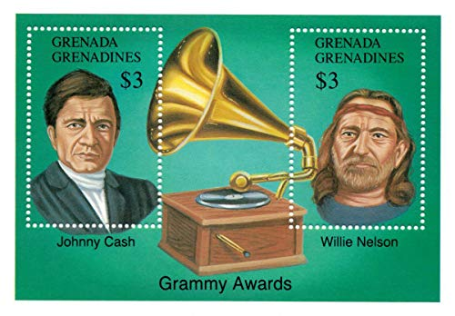 Famous Musicians - Johnny Cash and Willie Nelson - Rock and Roll - Grammy Awards - Limited Edition Collectors Stamps - Grenada