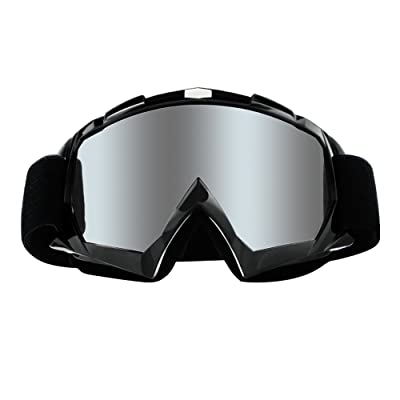 4-FQ Motorcycle Goggles Dirt Bike Goggles Anti UV Safety Goggles Anti Scratch Motocross Goggles Dustproof Motorcycle Glasses Motorbike Goggles for Cycling Riding Climbing Skiing-Sliver Lens: Automotive