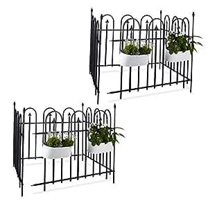 Valla de jardín Set Goth (16piezas, metal Valla 9,6m, juego completo con 8Valla Elementos y postes, forjado Valla
