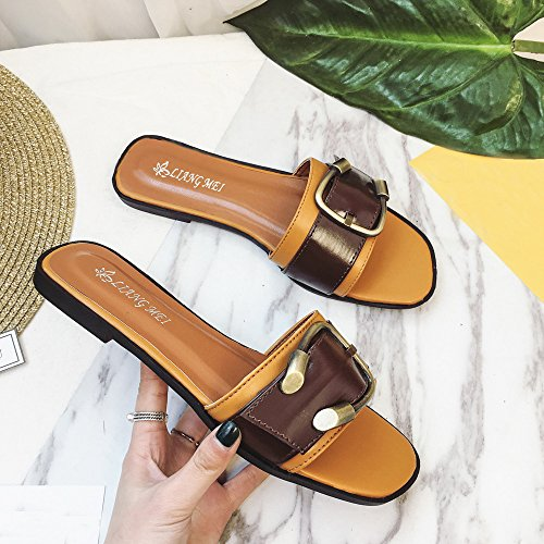 Ularma Zapatos sandalias Peep-toe baja talón romana de las mujeres marrón