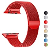 Seoaura for Apple Watch Band 42mm, Stainless Steel Milanese Loop Replacement Strap With Magnetic Closure for iWatch Series 1 2 3 Sports (Red, 42mm)
