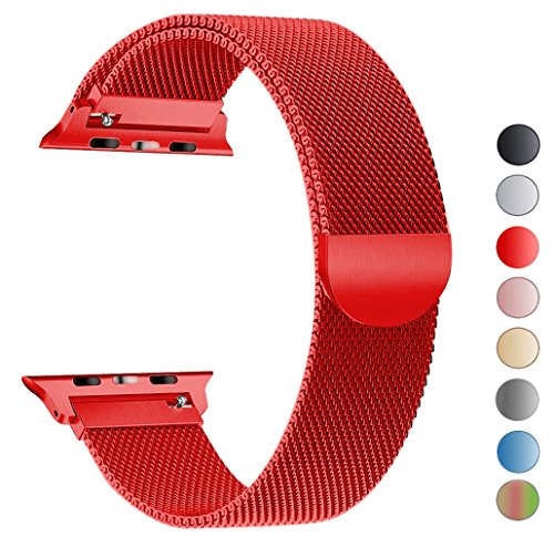 Seoaura for Apple Watch Band 42mm, Stainless Steel Milanese Loop Replacement Strap With Magnetic Closure for iWatch Series 1 2 3 Sports (Red, 42mm) by Seoaura