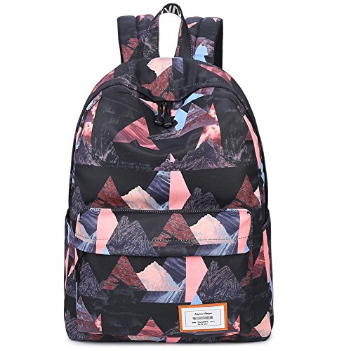 Cute Girls Primary School Backpack Lightweight Bookbags Shoulder Bag Purse Multipurpose for Teens (Colorful Black Triangle)