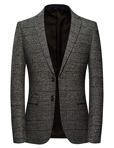 INSFITY Men's Slim Fit Wool Blend Sport Coat Blazer Jacket Brown
