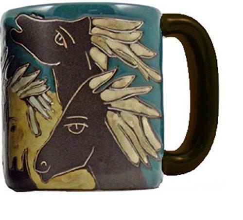 - Mara Stoneware Collection - 16 Ounce Ceramic Coffee/Tea Cup Collectible Dinner Mugs - Mexican Pottery Horse Design