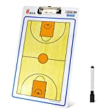 Freshday Coaches Marker Boards Basketball Clipboard, PVC Dry-Erase Double Sided Coaching Board Basketball Tactical Board (White and Orange)