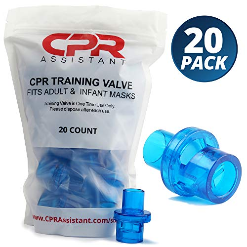 CPR AssistantTM CPR 1 Way Valves - 20 Pack, for CPR Resuscitation Training with Adult and Infant Face Masks