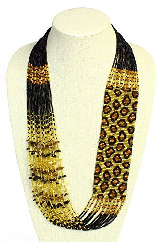 Leopard Czech Glass Seed Beads Gold and Amber Necklace with Magnetic Clasp NE702-368