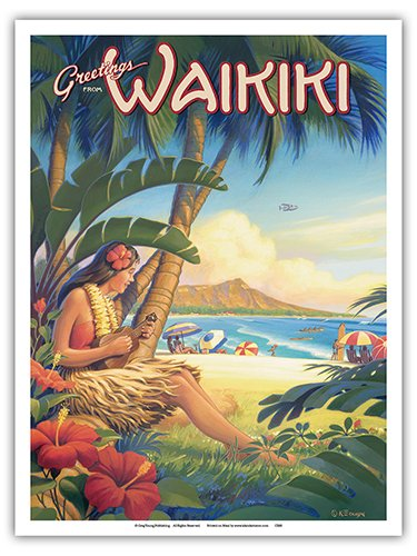Greetings from Waikiki, Hawaii - Ukulele Hula Girl - Diamond Head Crater - Vintage Style Hawaiian Travel Poster by Kerne Erickson - Master Art Print - 9in x ()