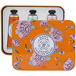 La Chatelaine 20% Shea Butter Hand Cream Tin Gift Set with Organic Argan Oil, Hydrating, Repairing, Beauty Gifts, Made in France -Cinnamon Orange, Gardenia, Rose Acacia, 3x1ozs Travel Size