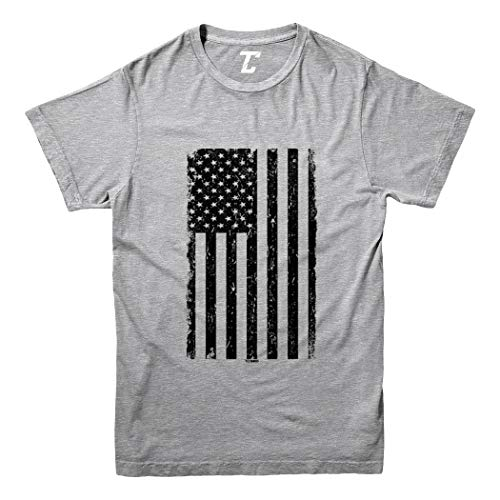 Distressed Black American Flag - USA Youth T-Shirt (Light Gray, Large)