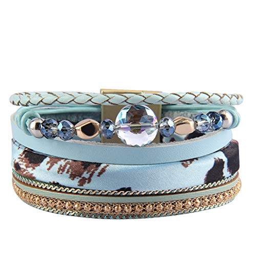 Jenia Women Leather Cuff Bracelet Multi Strand Wrap Around Bracelets Charm Leopard Skin Boho Bracelet for Girls, Mother, Wife, Ladies Gift