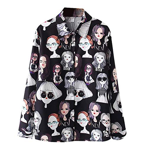 TIFENNY Long Sleeve Shirts for Women Cartoon Sketch Print Korean Shirt Button Down Tops Casual Loose Blouse 2019 New Black ()