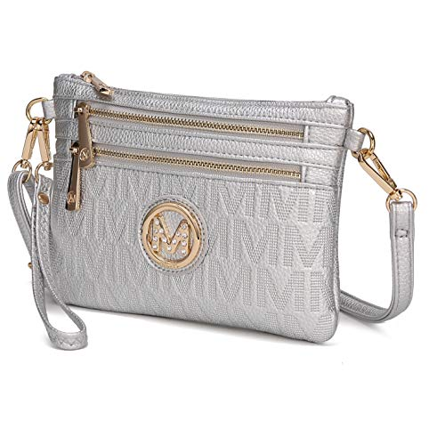 MKF Crossbody Bags for Women - Removable Adjustable Strap Handbag Wristlet - Small Vegan Leather Messenger Purse Silver