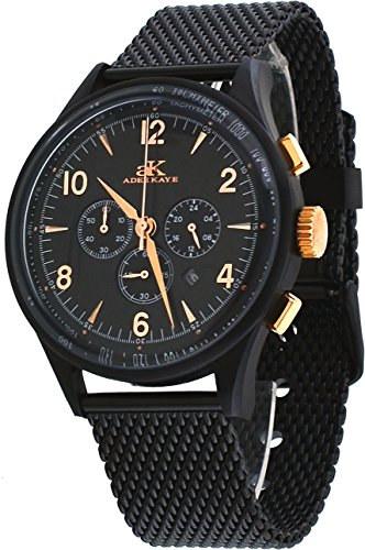 Adee Kaye Mens Chronograph Watch - Adee Kaye #AK9040-MIPBRG Men's Retro Collection Black IP Stainless Steel Mesh Band Silver Dial Chronograph Watch