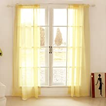 ZWB Solid Sheer Window Curtains/Drape/Panels/Treatment for Bay Window Living Room Rod Pocket Process 1 Panel W39 x L84 Inch
