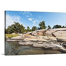 Canvas On Demand Premium Thick-Wrap Canvas Wall Art Print entitled Ancient Precambrian Rock along Shoreline, Fox Islands, Georgian Bay, Canada