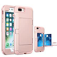 iPhone 7 Plus Case, NOKEA Mirror Wallet Case Card Slot Hidden Pocket Layered 3 in 1 Hard PC Case Silicone Shockproof Heavy Duty High Impact Armor Hard Case for iPhone 7 Plus (Rose Gold)