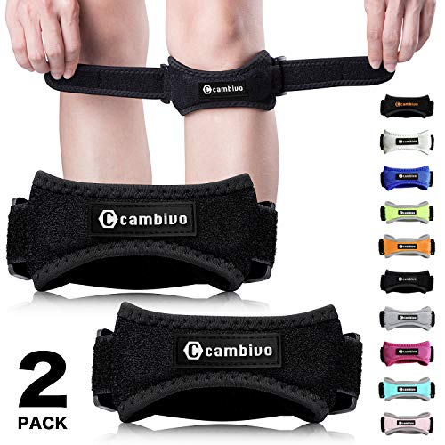 CAMBIVO Patella Knee Strap, 2 Pack Pain Relief Knee Brace & Patellar Tendon Support Band for Running, Hiking, Volleyball, Jumpers Knee, Tendonitis, Arthritis and Injury Recovery (Black)
