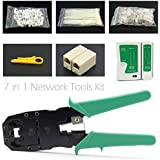 Maxmoral Professional Network Computer Maintenance Repair Tools, Cable Tester Crimp Crimper Wire Stripper RJ45 Connector Plug Cable Ties Cable Cord Holder Clips Ethernet Connector