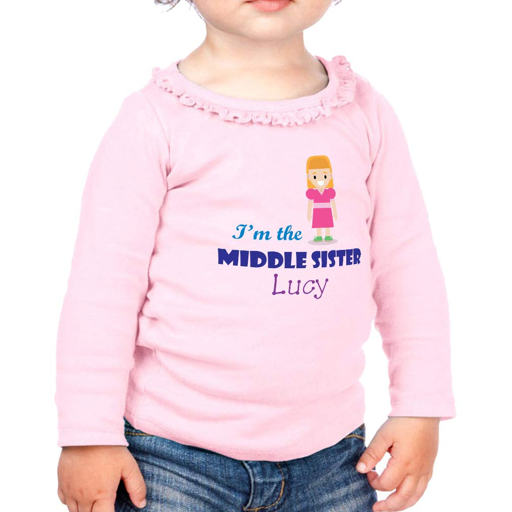 Personalized The Middle Sister Cotton Toddler Long Sleeve Ruffle Shirt Top