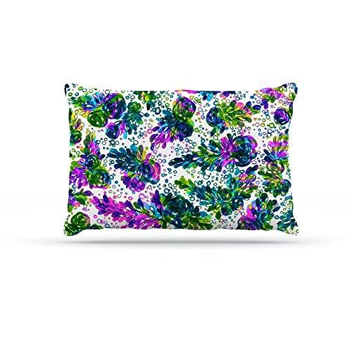 Kess InHouse Ebi Emporium Prismatic Posy III  Fleece Dog Bed, 50 by 60 , Purple Green