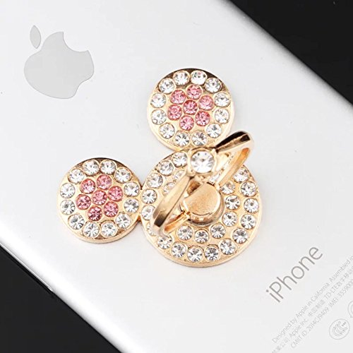 Universal 360 Degree Rotating Finger Ring Stand Holder for Cell Phone or Tablet - Crystal Rhinestone Pink Mickey Mouse (Mickey Mouse Phone Mobile)