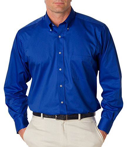 Van Heusen Men's Long Sleeve Relaxed Twill Dress Shirt, Royal Blue, (Polyester Twill Shirt)