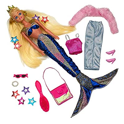 Kicko Mermaid Doll with Fashion Clothes and Princess Crown, Vivid Colors Set of Outfits and Accessories for Girls: Toys & Games