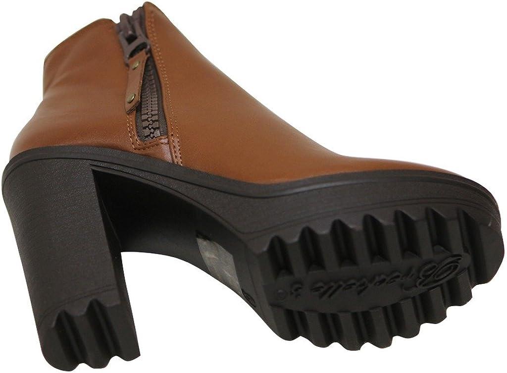 Breckelles Asha-11 Womens Platform Chunky Heel Almond Toe Side Zip Ankle Booties