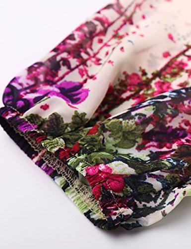 Djt Imprimé Floral Manches 3/4 En Mousseline De Soie Ajustement Lâche Une Ligne Mini Robe Abricot Féminin