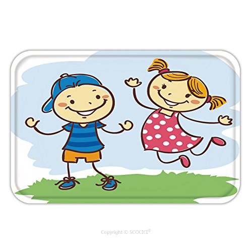 Flannel Microfiber Non-slip Rubber Backing Soft Absorbent Doormat Mat Rug Carpet Vector Illustration Of Kids Playing Stick Figures 532943323 for Indoor/Outdoor/Bathroom/Kitchen/Workstations (Playing Stick Figure)