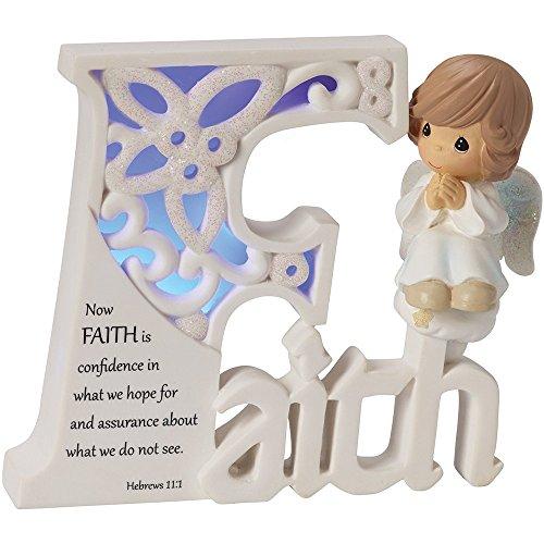 Precious Moments, Faith LED Angel, Resin Collectible Sculpture, 153411 Faith Collectible