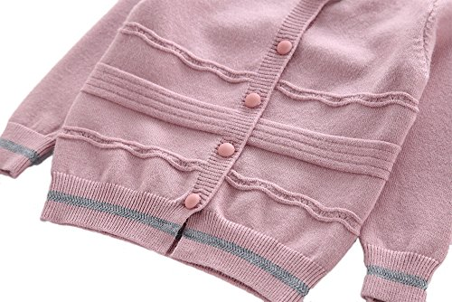 Moonnut Girls Cardigan Sweaters Basic Solid Color Long Sleeve Knitted Outwear (3T, Purple Pink) by Moonnut (Image #4)