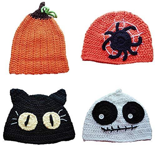 (Cute Baby Cap Halloween Cartoon hat White Ghost Innovative Handmade Wool Headwear Fashion Creative Cosplay Ornament for Kids)